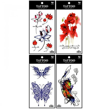 Spestyle fake tattoos that look real 4pcs fake temp tattoo stickers in one package, it's including lotus,flowers,butterflies and fish temporary tattoos