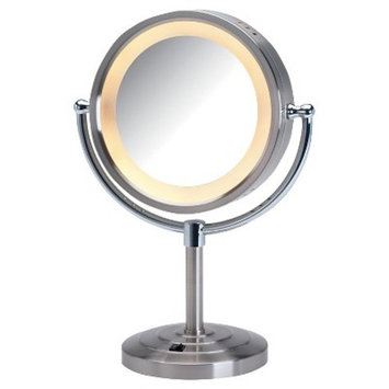 Jerdon 5X-1X Lighted Table Top Mirror 15'' Inches Nickel