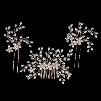 Homyl Bridal Handmade Pearl Hair Comb Set Hair Jewelry For Wedding/Prom/Party