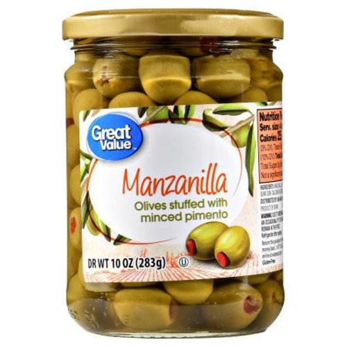 Great Value Manzanilla Olives Stuffed with Minced Pimiento, 10 oz (Pack of 2)