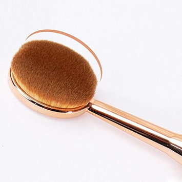 Kanhan 1 PCS Rose Gold Professional Oval Toothbrush Foundation Oval Brushes The New Mermaid Makeup Brush One Set
