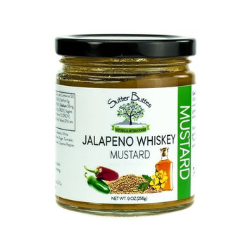 Sutter Buttes Jalapeno Whiskey Mustard (9oz jar) Premium Gourmet Mustard Infused with Spicy Jalapeno Peppers and Aged Tennessee Whiskey, Award-Winning Flavor