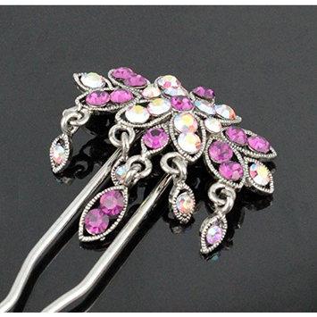 Janefashions Dangle Geisha Purple Austrian Rhinestone Stick Hair Pick Pin C1178