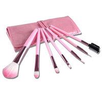 7pcs Foundation Makeup Brushes Set Eyeshadow Eyeliner Blusher Pink Leather Case