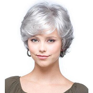QianBaiHui Women Short White Wigs Synthetic Hair Fashion silver Grey Mother wigs