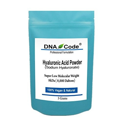 DNA Code-DIY Hyaluronic Acid Powder-Sodium Hyaluronate, Lowest Molecular Weight-8kDa, Cosmetic Grade, Add to Your Own Products
