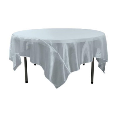 LA Linen Sheer Organza Square Tablecloth, 72 by 72', Baby Blue