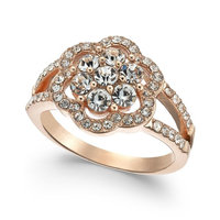 Rose Gold-Tone Crystal Flower Ring, Created for Macy's