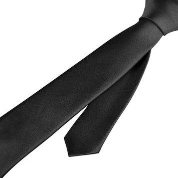 Zodaca Black Casual Slim Plain Men's Solid Skinny Neck Party wedding Shirt Tie Necktie