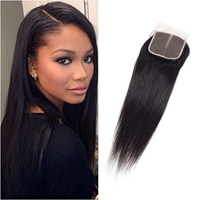 "JUST SHOW Straight 4""X4""Top lace Closure Adjustable Middle Part 100% Unprocessed Virgin Remy Human Hair with Baby hair Density Full Natura Color Can Dye (16"