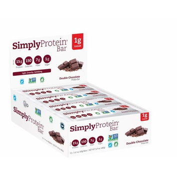 SimplyProtein Bar, Double Chocolate, Pack of 12, Gluten Free, Non GMO, Plant Based [Double Chocolate Bar]