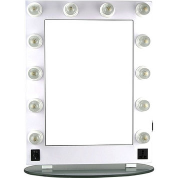 Hiker 12 Dimmer Light Piece Body and Glass Base Hollywood Vanity Makeup Wall Mount Mirror Table Top, White [1]