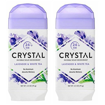 Crystal Lavender and White Tea Invisible Solid Deodorant (Pack of 2) With Mimosa Leaf, Sweet Violet Extract, Lotus Blossom and Orange Peel Extract, For Long-Lasting, 24-Hour Protection, 2.5 oz.