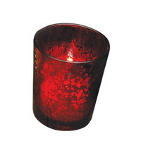 Biedermann & Sons Biedermann Rustic Glass Votive Holder, Red, Set of 12