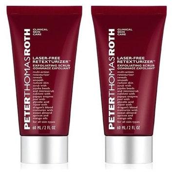Peter Thomas Roth Cosmetics Laser-Free Retexturizer Scrub (Pack of 2) With Jojoba, Caffeine, Oat, Sweet Almond, Apricot, Mango, Aloe Vera, Dragon's Blood, Glycolic Acid and Papaya, 2 fl. oz. each