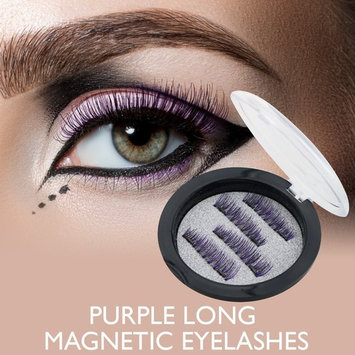3D Reusable fashionable Black and Purple color False Magnetic Eyelashes Ultra thin no glue needed for natural longer thicker eyelash look by Vena Beauty (Long)