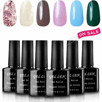Gellen UV Gel Nail Polish Kit, Gentle Sweet Colors Series Pure Shimering Shade, 6 Colors Gel Manicure
