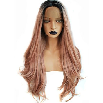 Anogol Hair Cap+Glueless Heat Resistant Long Body Wave Ombre Pink Synthetic Front Lace Wig with Dark Roots