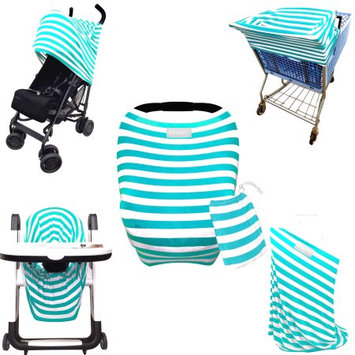 Luvit 5-in-1 Cover for Car Seats, Shopping Carts, High Chairs, Strollers and Nursing Moms in Teal & White Stripes