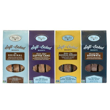 Marlo's Bakeshop Soft Baked Biscotti Gourmet Sampler Pack - Coffee Cake, Brownie, Choc Chip, GF Banana Bread - Non-GMO, Wholesome Indulgence (4 Pack)