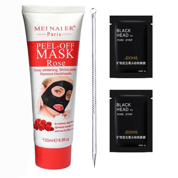 Mei Nai Er Paris Peel Off Face Mask With Natural Rose Essence Oil + 1 Blackhead Whitehead Pimple Extractor Tool + 2 Pore Strips - Great Pore Cleaning Face Mask Plus Skin Whitening