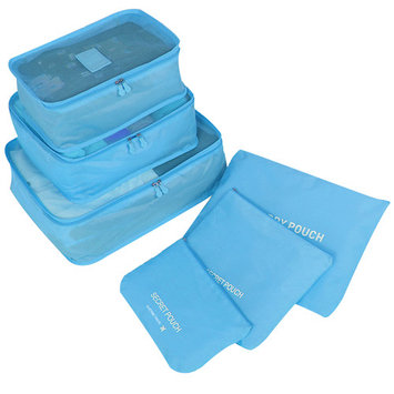 6Pcs Clothes Organizer Home Shoe Storage Bag Makeup Pouch Luggage Packing for Travel(Blue)