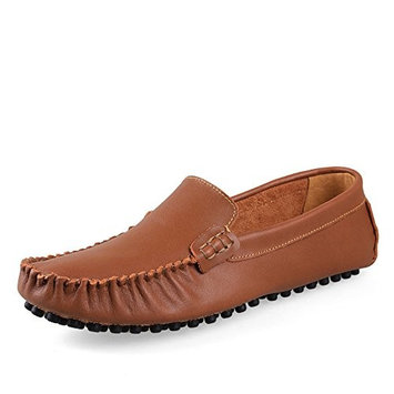 Men's leather breathable shoes men's casual shoes UK size shoes,Add hair light brown,44