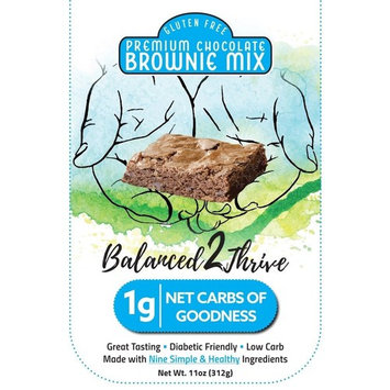 Balanced2Thrive Gluten Free Low Carb Diabetic Friendly Premium Chocolate Brownie Mix