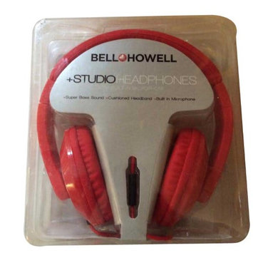 Supergooddeals.com Bell Howell Red Studio Headphone with Built in Microphone