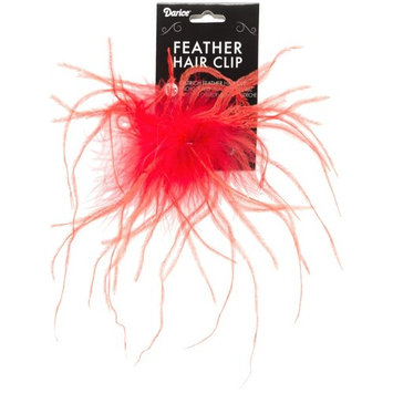 Darice 1-Piece Ostrich Feather Hair Clip, 2-3/8-Inch, Red