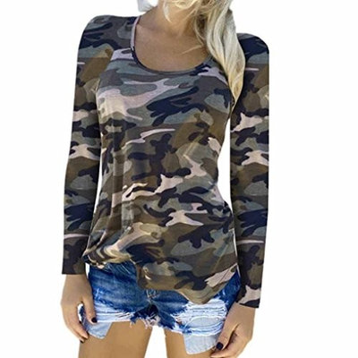 Fheaven Womens Round Nek Camouflage T-shirt Long Sleeve Casual Loose Tops Ladies Blouse