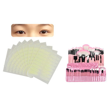 Zodaca PINK 32Pcs Makeup Brush Set (32 Count) Eye shadow Eyeliner Powder Foundation Blush Contouring Cosmetic Comprehensive Tools with Pouch Bag + 160 Pairs Breathable Double Eyelid Sticker Tape Wide