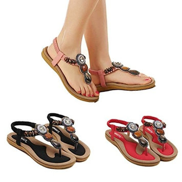 AutumnFall Women's Sweet Summer Flats Sandals with Bohemian Beads