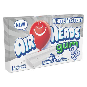 AirHeads Candy Sugar-Free Chewing Gum with Xylitol, White Mystery, Stocking Stuffer, Gift, Holiday, Christmas, 14 Stick Pack (Bulk Pack of 12)