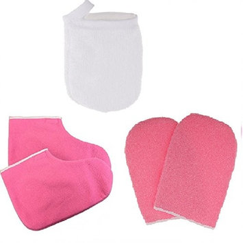 Homyl Paraffin Wax Bath Terry Cloth Gloves Booties, Wax Skin Care Cotton Mittens, Heat Waxing Spa Treatment Mitts, and 3pcs Face Cleansing Gloves Makeup Remover Cloth Pad