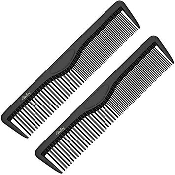 Pocket Combs | 2 Pack | Professional 5 Inch Black Carbon Fiber Hair Comb | Fine And Wide Tooth Travel Comb Set | Anti Static Chemical and Heat Resistant | Mens Beard And Styling Haircomb Supplies | Ba
