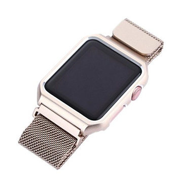AutumnFall Milanese Magnetic Loop Stainless Steel Strap Watch Band+Case Cover For Apple Watch 38mm,Band Length: 245mm (G