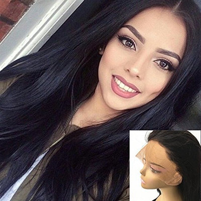 JYL Hair 360 Lace Frontal Glueless Wig Natural Straight Brazilian Human Virgin Hair 180% Density Pre Plucked Hairline With Baby Hair Bleached Knots Natural Color