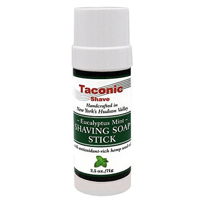 Taconic Shave Eucalyptus Mint Shaving Soap Stick with Antioxidant-Rich Hemp Seed Oil 2.5 oz./71g