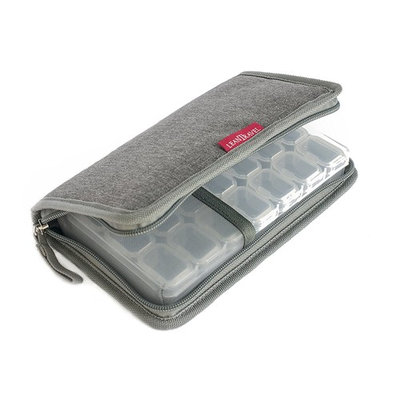 LeanTravel 7 Day Travel Premium Small Pill Case Organizer & Passport Wallet with 5 Pockets