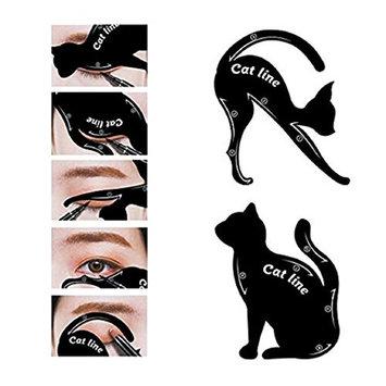 Maple_Leaf 2Pcs Cat Eyeliner Stencil Women Cat Line Pro Eye Makeup Tool Eye liner & Eye Shadow Guide Template Shaper Model