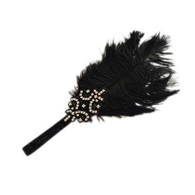 Dolity Vintage Rhinestone Beaded 1920s Gatsby Party Headpiece Women Flapper Feather Headband