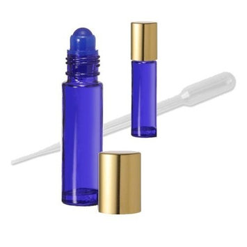 Grand Parfums 24 Cobalt Blue Aromatherapy Essential Oil Glass Roll-on Bottles with Gold Top