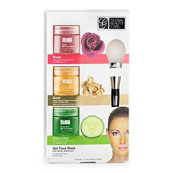 Rose, Gold, Cucumber Gel Face Mask with Applicator 3 pack, 1.7 ounce containers
