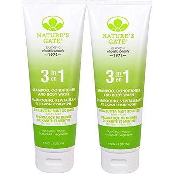 Nature's Gate 3-in-1 Shampoo Conditioner and Body Wash Shea (Pack of 2) with Shea Butter, Cucumber Fruit Extract, and Kale Leaf Extract, 8 fl. oz.