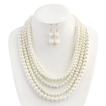 Riah Fashion Classic Glass Pearl Layer Necklace Set