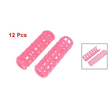 Uxcell 12 Piece Plastic Woman Home DIY Hair Styling Curlers Clips, Pink, 0.1 Pound