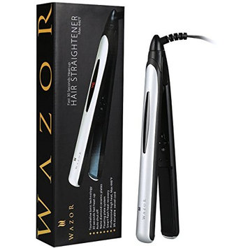 Wazor Titanium Ion plates Hair Straightener (1 Inch Pro Flat Iron) Digital LCD Display Adjustable Temperature Suitable for All Hair Types Makes Hair Shiny & Silky Heats Up Fast (silver white color)