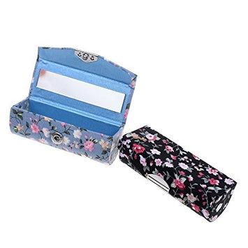 Kloud City Women's 2 Pcs Floral Jacquard Lipstick Case Holder with Mirror Rectangle Fabric Print Makeup Travel Cases