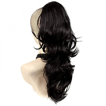 "Ponytail clip in hair extensions Long Curly weave Hairpiece 24 inches Dark Blonde #14 claw clip On in synthetic Pony tail 250g Fake Hair with a jaw/claw clip (22"", #27/33)"